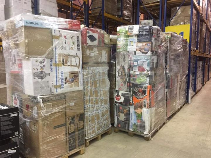 27518 - A container 40 feet with 35 XXL mix pallets with returned goods Europe