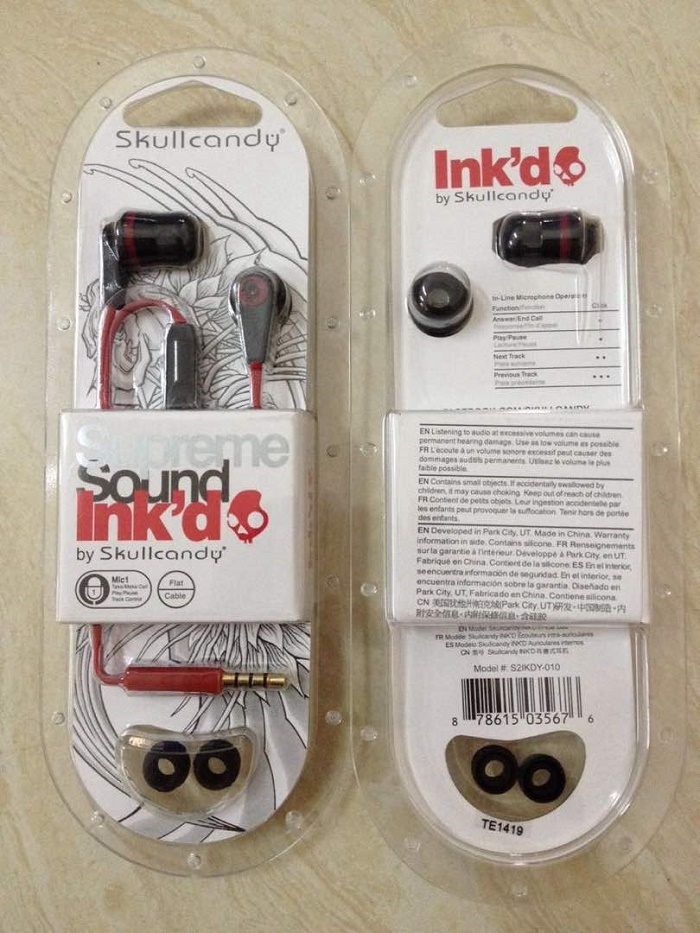 28329 - SKULLCANDY INKD 2.0 EARPHONES WITH MIC BLACK AND RED USA